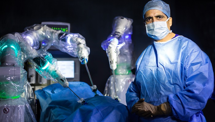 CMR Surgical robotic system in use