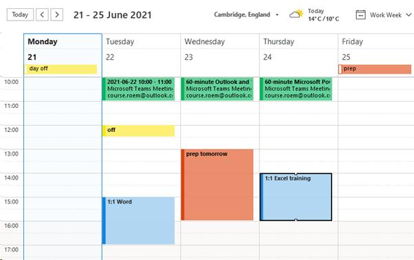 colour coded calendar