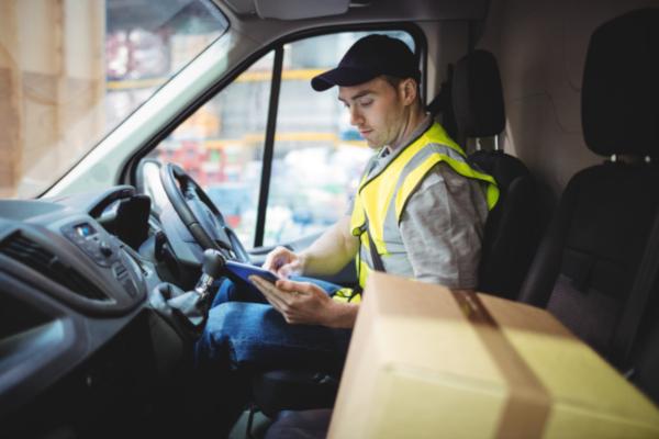 courier driver in his van