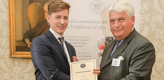 Bernard Taylor, Chairman of the Royal Commission for the Exhibition of 1851, presents PhD student Robert Rouse with his Industrial Fellowship  Credit: Royal Commission for the Exhibition of 1851