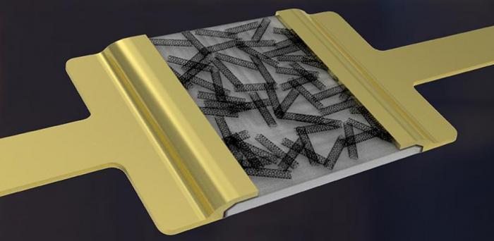 Artist's impression of a hybrid-nanodielectric-based printed-CNT transistor  Credit: Luis Portilla