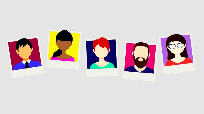illustration of a line of people's faces on a grey background