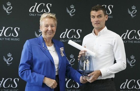 David Steven, Managing Director of dCS, is presented with the Queen's Award for Enterprise by Mrs Julie Spence OBE QPM, HM Lord-Lieutenant of Cambridgeshire