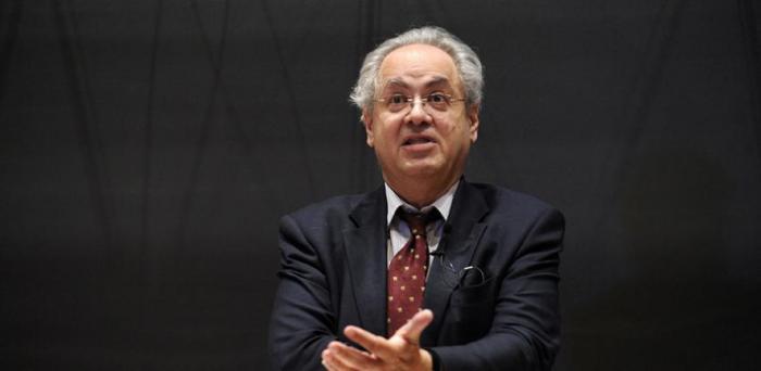 : David Abulafia speaking at the Holberg Prize symposium.  Credit: The Holberg Prize
