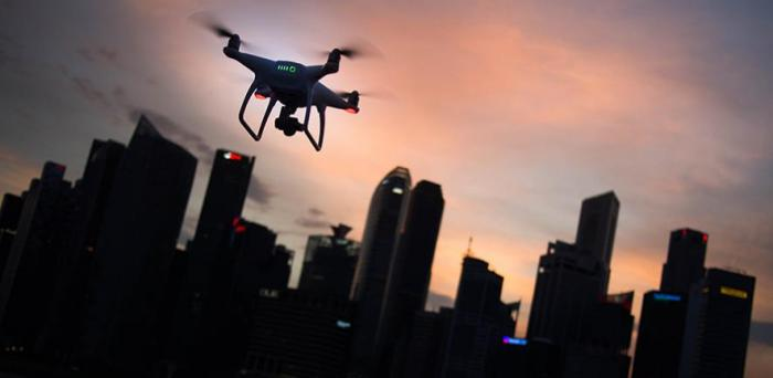 Drone and city skyline  Credit: Goh Rhy Yan via Unsplash