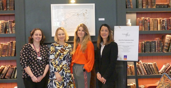 EACH exhibition at Tamburlaine Hotel: L-R: Maddy Dodsworth (EACH Major Donor Manager), Samantha Cross (Gilda), Katherine Mann (Lily) and Alison Herrtage (Tamburlaine Hotel Sales Manager).