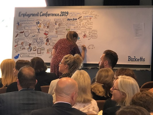 Birketts' employment conference with artwork by illustrator Rebecca Osborne