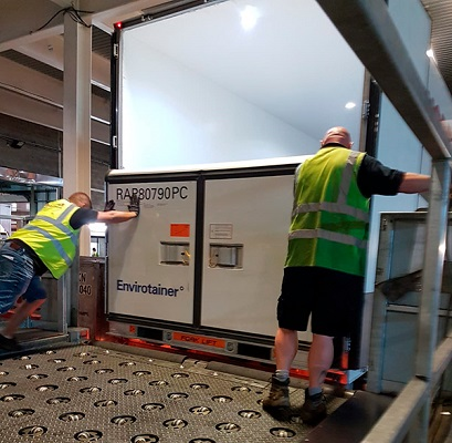 Envirotainer RAP e2 being loaded onto the TCV at London Heathrow