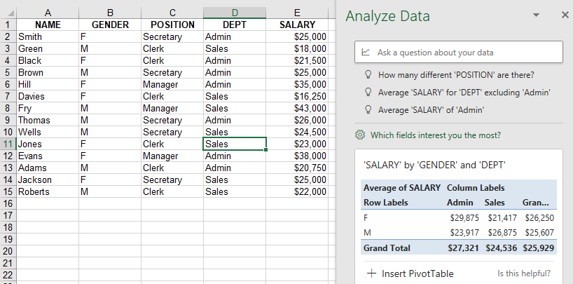 Excel sample page