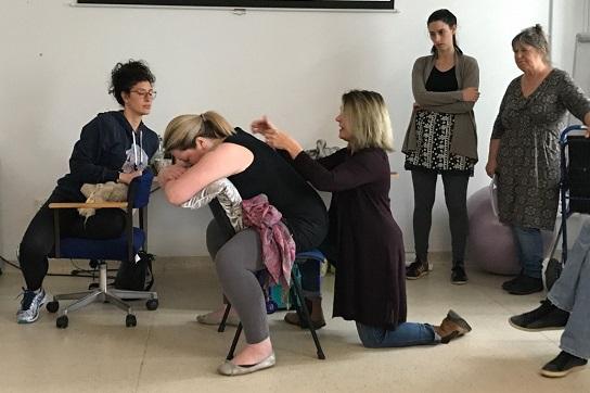 a hypnobirthing training session