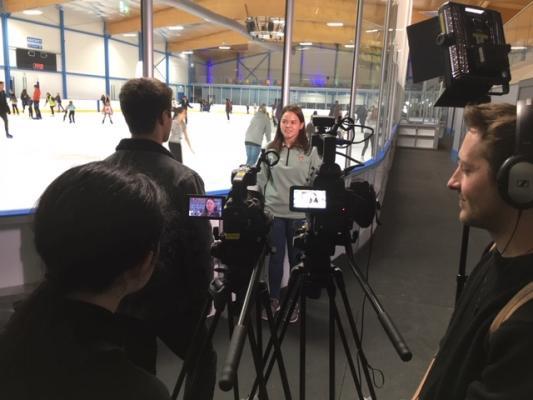 Cambridge TV Training filming at Cambridge Ice Arena