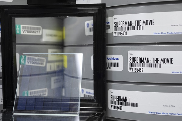 The film 'Superman' is shown stored on reels of film and on glass in a cold storage vault. Photo by John Brecher for Microsoft.
