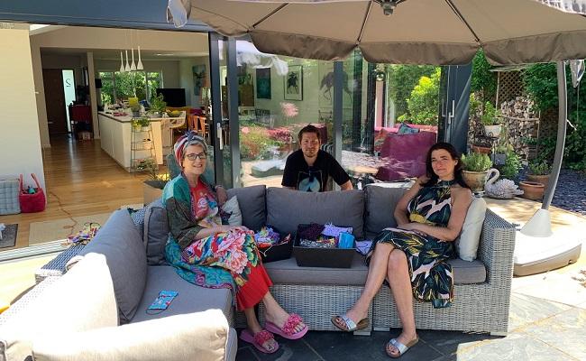 Jane Horwood and Melissa Santiago-Val with DragonLight Films cameraman