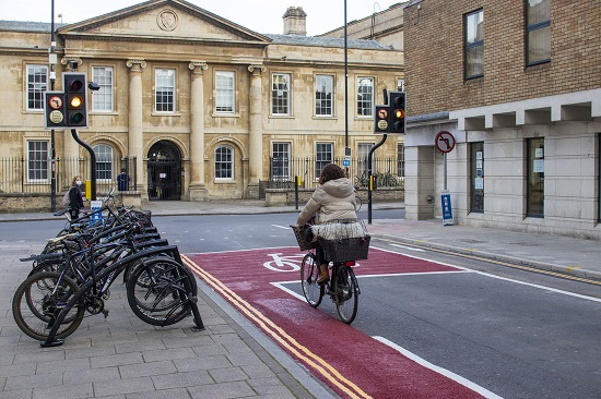 The junction of Downing Street and St Andrews street in Cambridge