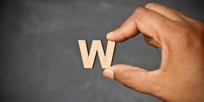 Hand holding a large wooden letter 'W'