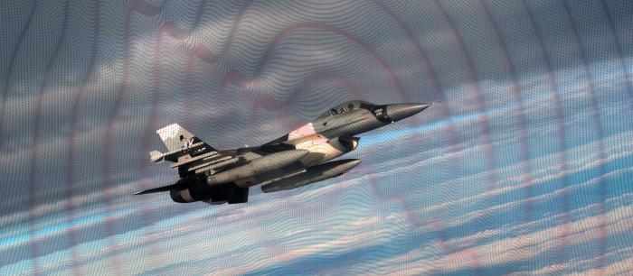 CRFS RFeye AirDefense fighter jet with RF emissions