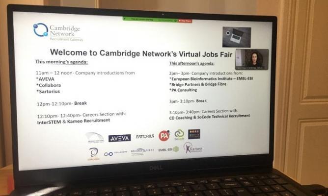 welcome to Cambridge Network's Virtual Jobs Fair - screen shot