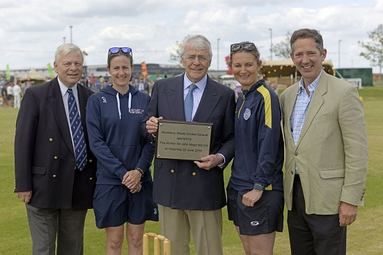 The Rt Hon Sir John Major KG CH officially opened the new cricket pitch, alongside former England cricket stars Charlotte Edwards and Lydia Greenway.