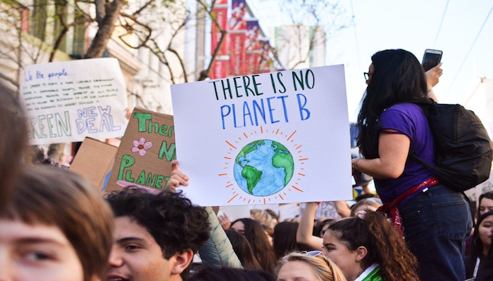 Crowd scene at a climate change protest march