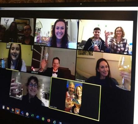 The Cambridge Network team enjoys an online drinks party during lockdown