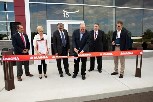 Magna officially opens its new electronics facility in Grand Blanc Township, Michigan.