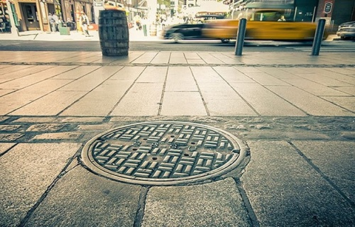 manhole cover in New York