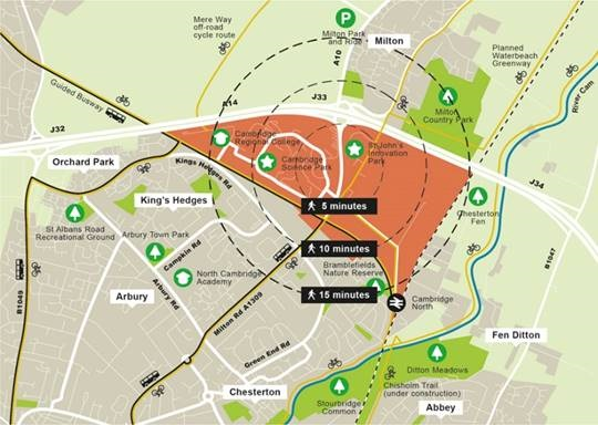 Map shows plans for a new city district in North East Cambridge