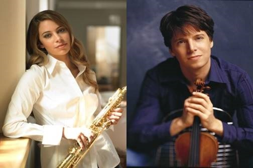 Saxophonist Amy Dickson (left) and violinist Joshua Bell (right) are two of the leading classical stars appearing at this year's Festival.