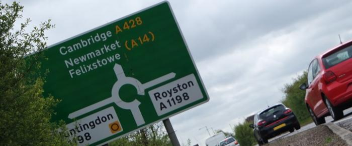 road sign on the A428