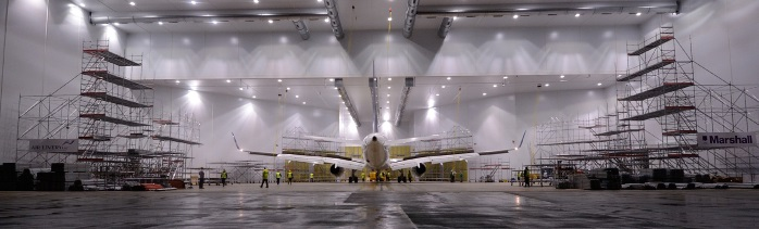 aeroplane in a paint shop