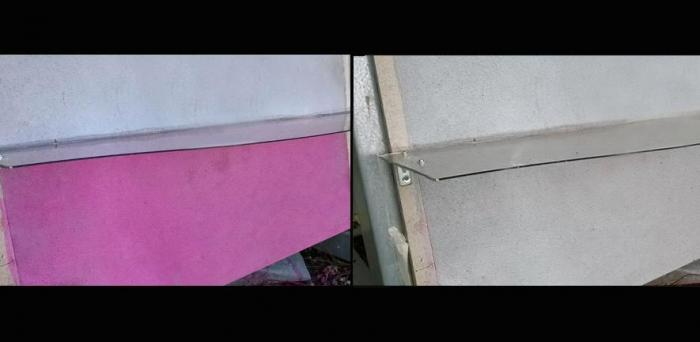 Left: Photocatalytic panel exposed outdoor. The purple section is treated with a pollutant. Right: Three weeks later, pollutant has been degraded by the photcatalyst  Credit: Italcementi