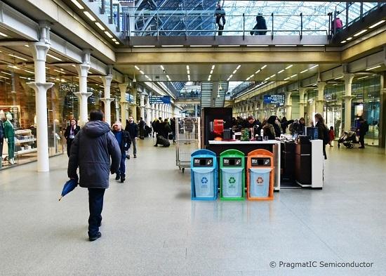 Recycling bins at train station