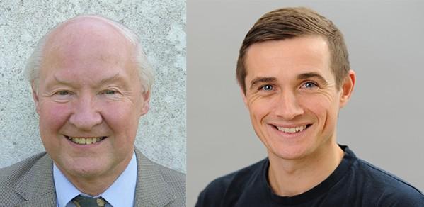 Professor John Robertson (left) and alumnus Billy Boyle.