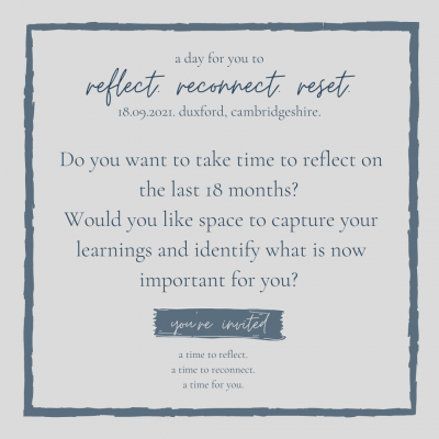 reflect, reconnect, reset banner