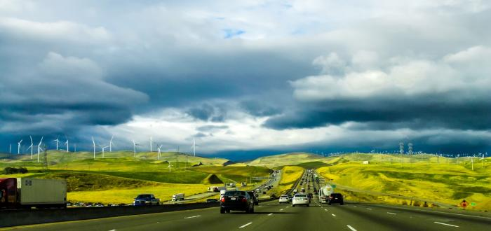 cars on the road in California