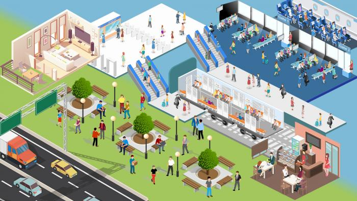 cut-away graphic depicitng a scene busy with people, vehicles etc