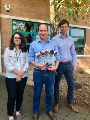Ben Eliott (centre) CEO of Legalesign, with Nick Morris, Sales Manager, and Andreea Picu, Customer Support Executive.