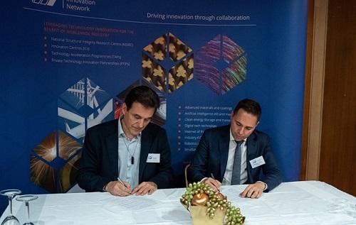 Photograph shows left to right, Professor Antonios Mononis, Director, EAESS Research Laboratory and Dr Panagiotis Chatzakos, Regional Manager, TWI Hellas