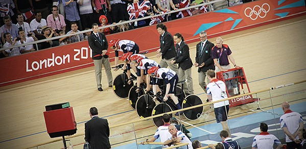 Ed Clancy, Geraint Thomas, Steven Burke and Peter Kennaugh take off in the Team Pursuit at London 2012. Credit: Simon Connellan on Unsplash.