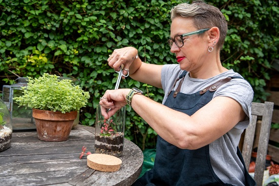 Janet Fox at Small and Green making a terrarium