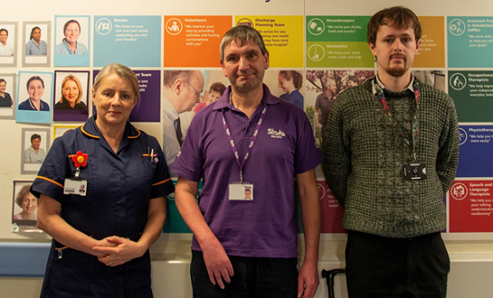 Diana Day, consultant nurse on the stroke unit is pictured with former stroke patient Nigel Poulter and Leo Phillips, data clerk who helped compile figures for the stroke audit.