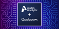 Audio Analytic and Qualcomm logos on PCB background
