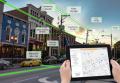 city scene with utilities - handheld device