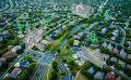 aerial shot of city showing key points of interest