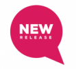 Pink speech bubble with the words 'new release' inside