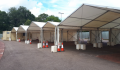 A row of marquee's set up to be used for the Newmarket Road blood-drive