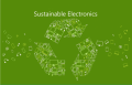 green 'sustainable electronics' banner