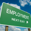 Street sign' saying  Employment - next exit'