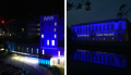Trinity College and Royal Papworth Hospital bathed in blue light