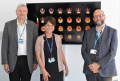 Professor John O'Brien, Professor Giovanna Mallucci and Dr Ben Underwood in front of the first images from new brain scan technology.